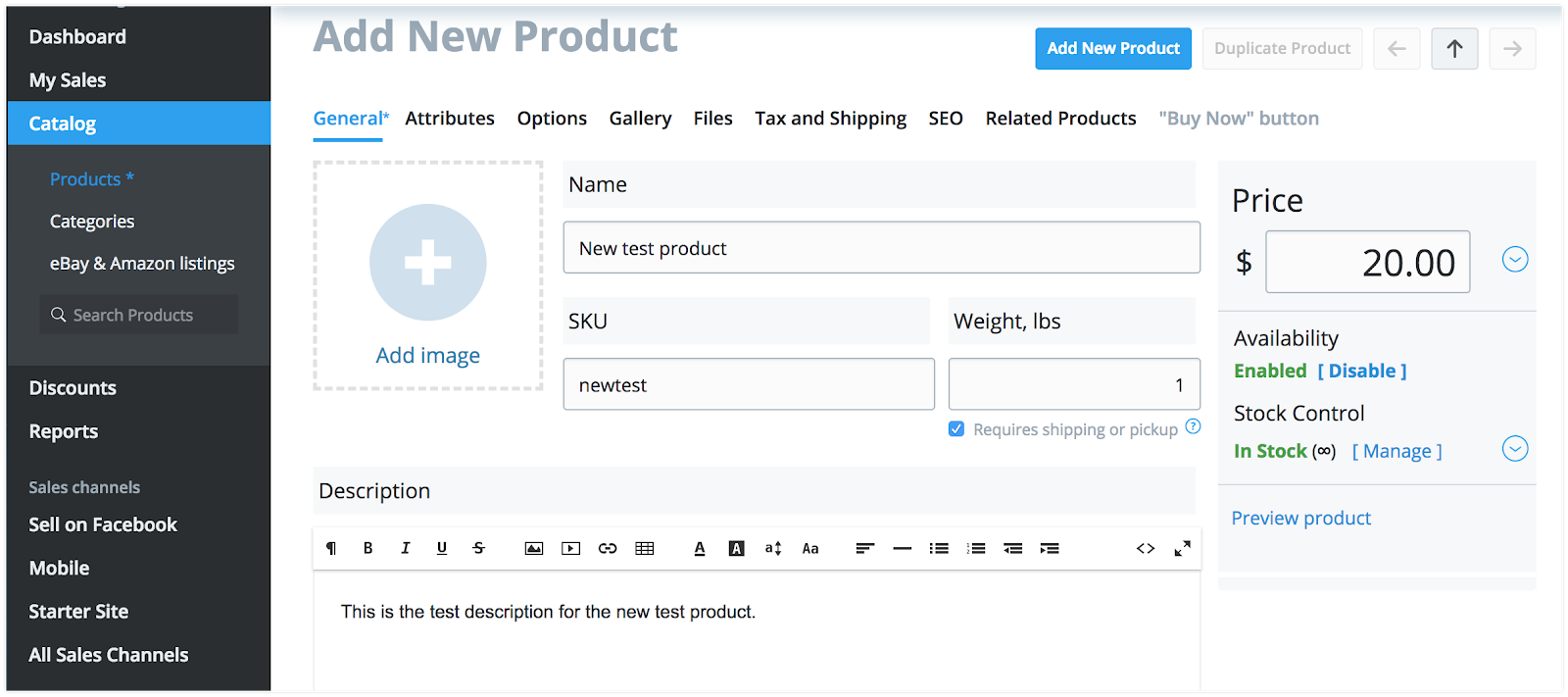 Fill in the main product details